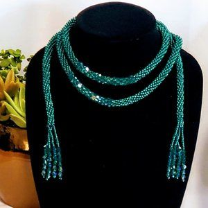 Green Beaded Scarf Necklace with Tassle Ends 26 in